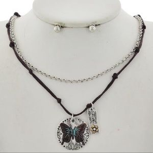 Corded Boho Butterfly Necklace set Brown